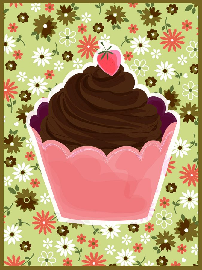 39369 Chocolate Cupcake with Flowers