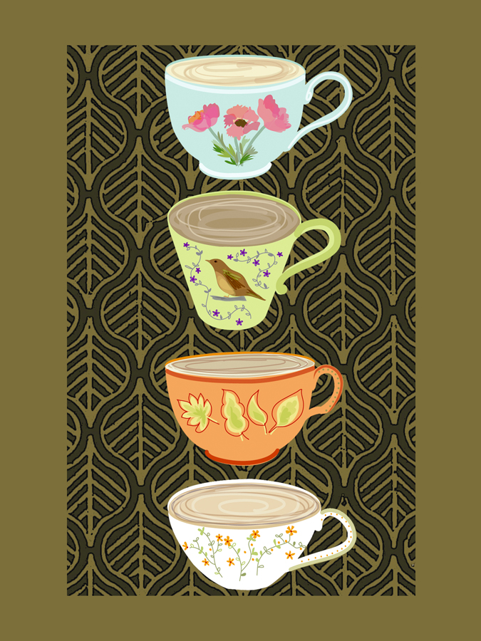 39395 Four Teacups with Leaves